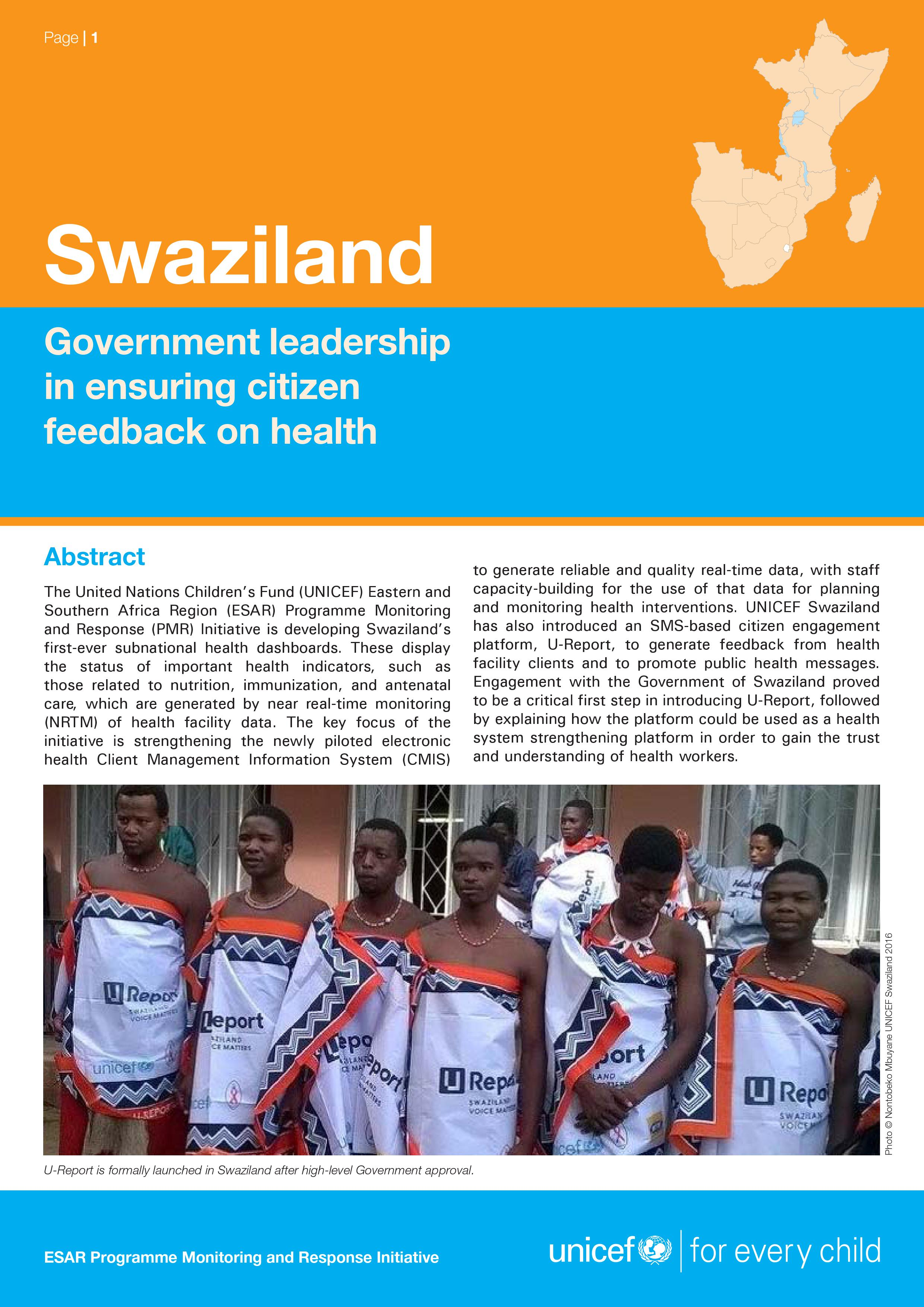 Case Study- Eswatini: Government leadership in ensuring citizen feedback on health