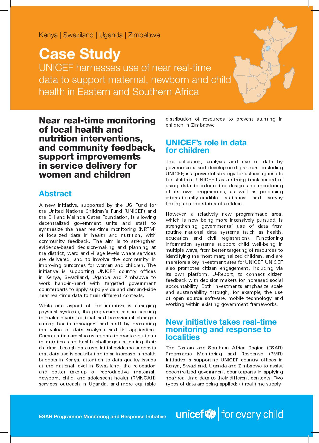 Case study: Harnessing use of near real-time data to support maternal, newborn and child health